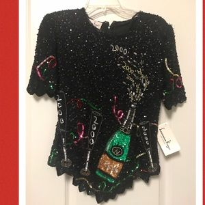 Vintage beaded and sequined happy new year size sm